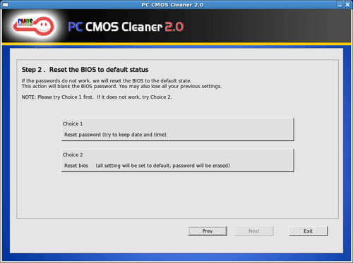 Giao diện PC CMOS Cleaner