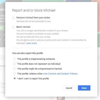 Cách chặn người khác trên Google+