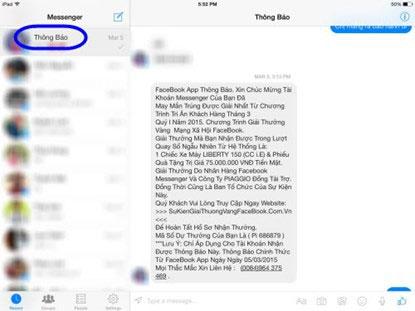 Thông báo lừa đảo về chương trình tri ân khách hàng trên Facebook