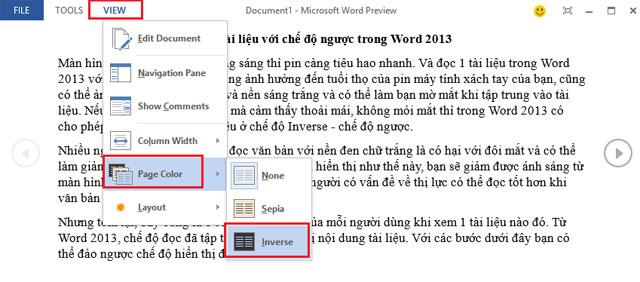Xem tài liệu với chế độ ngược trong Word 2013