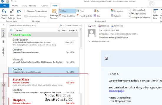 Một số thủ thuật cho Outlook 2013