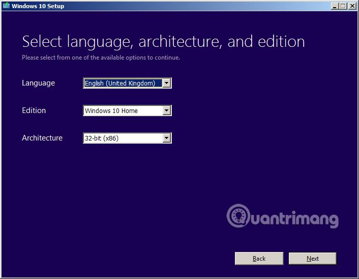 Chọn phiên bản Windows 10 muốn tải file ISO