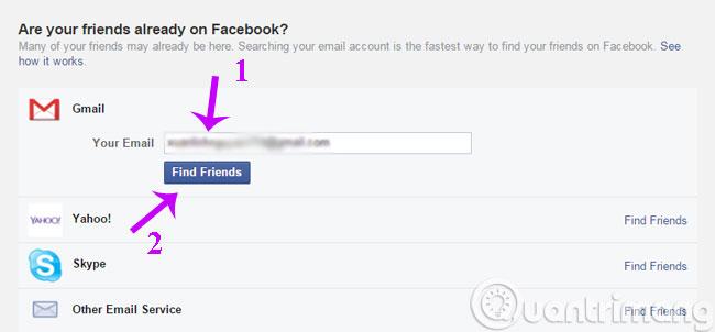 Tìm bạn thông qua Gmail