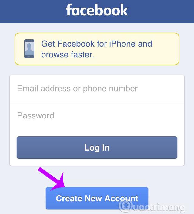 Truy cập trang chủ Facebook và click chọn Create New Account