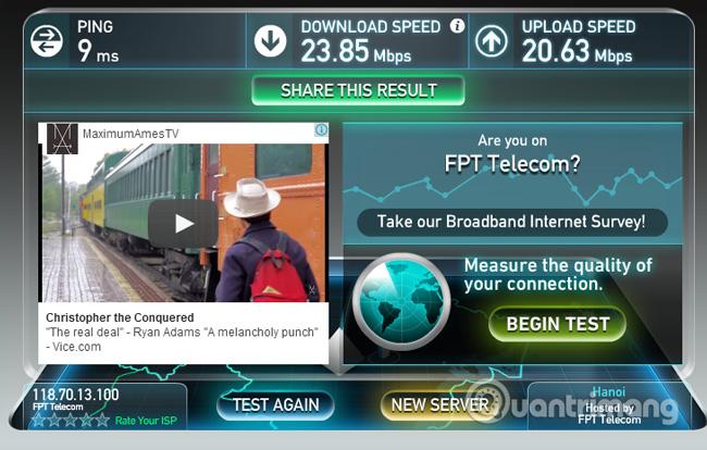 Kết quả kiểm tra tốc độ mạng