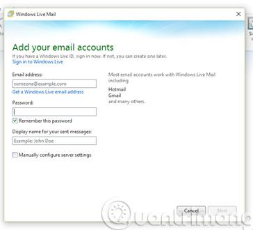 Thêm tài khoản email