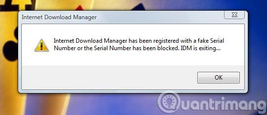 Thông báo lỗi của IDM