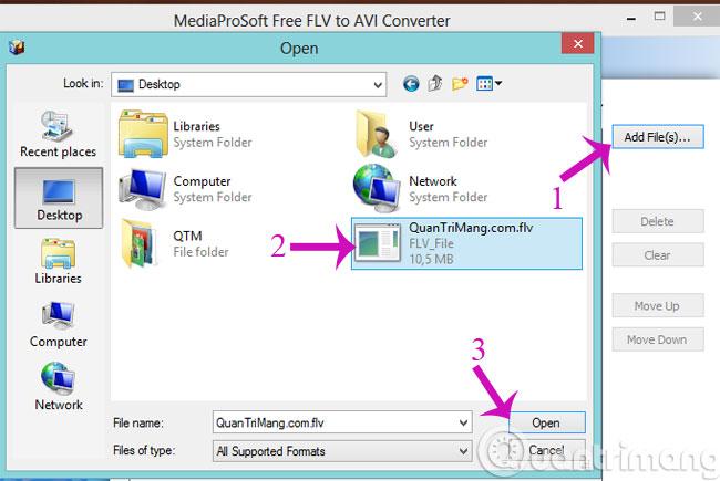 Chọn file FLV cần chuyển đổi