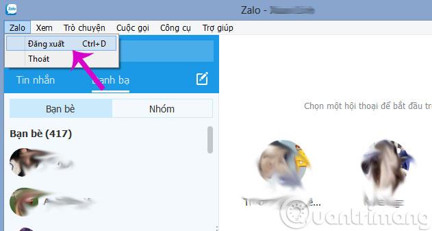 Đăng xuất tài khoản Zalo trên máy tính
