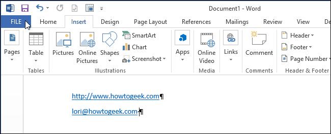 Click thẻ File
