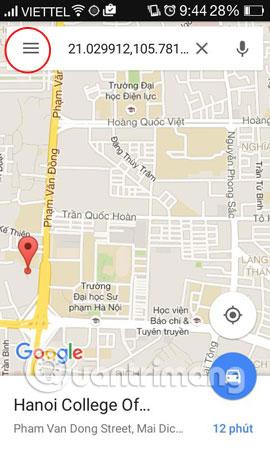 ửi bản đồ Google Maps trên PC tới điện thoại