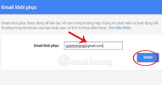 thêm email khôi phục vào Gmail