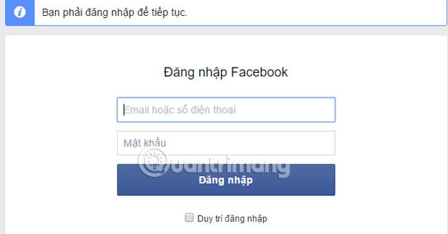 Đăng nhập tài khoản Facebook cần xóa