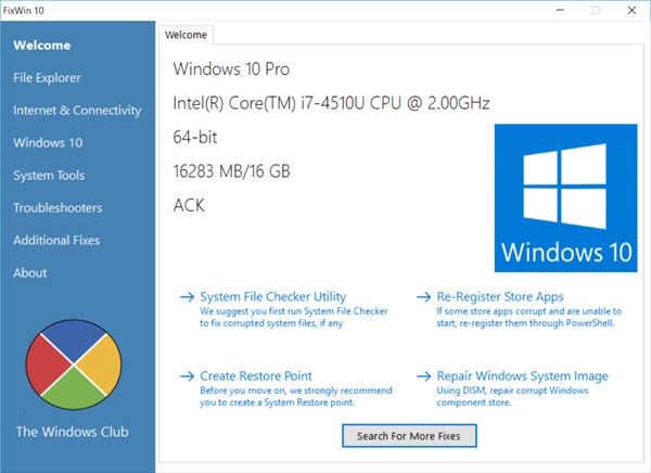 FixWin cho Windows 10