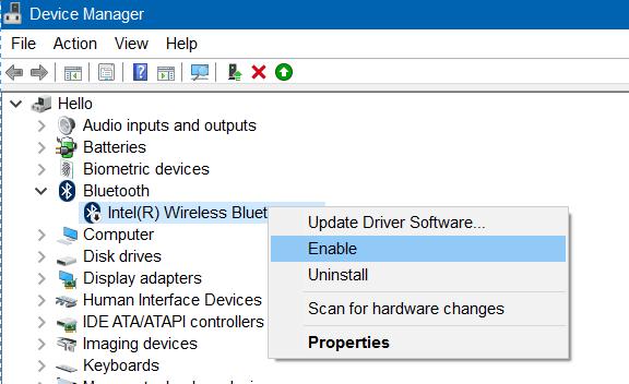 kích chuột phải vào tên Bluetooth rồi click chọn Enable