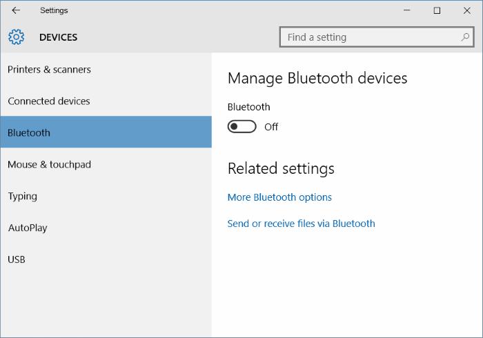 kiểm tra xem Bluetooth đã hiển thị dưới mục Devices