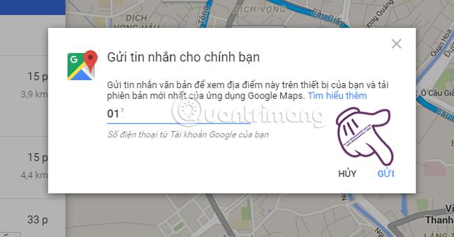 gửi đường đi google maps