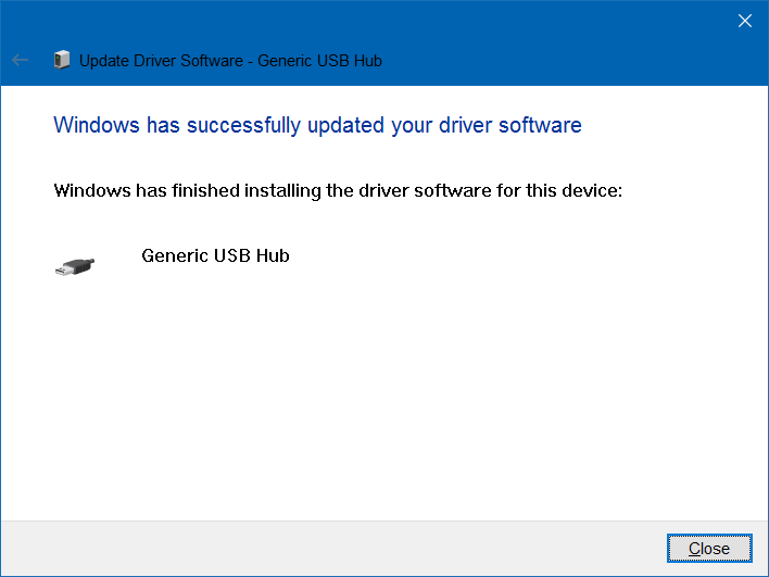 "thông báo ""Windows has successfully updated your driver software"""