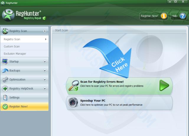 chọn Scan for Registry Errors Nows để tìm kiếm các tập tin bị lỗi