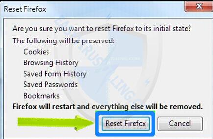 chọn Reset Firefox