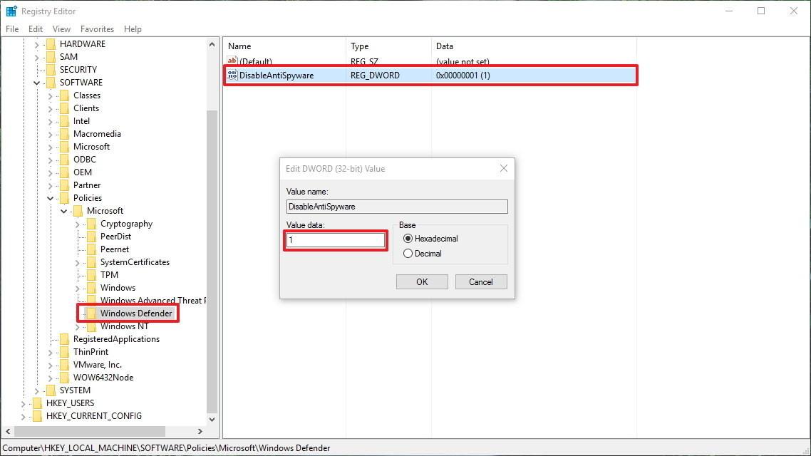 Vô hiệu hóa Windows Defender bằng RegistryII