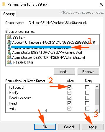 Chọn username (tên người dùng) của bạn trong khung Group or user names