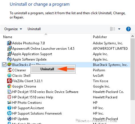 kích chuột phải vào BlueStacks App Player sau đó chọn Uninstall