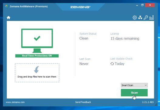Khi cửa sổ Zemana AntiMalware mở, click chọn nút Scan.