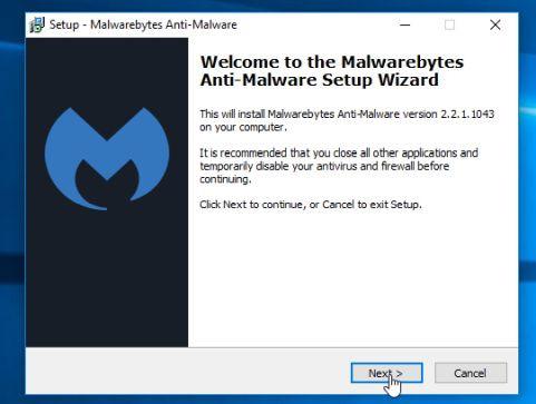 Cài đặt Malwarebytes Anti-Malware Setup Wizard