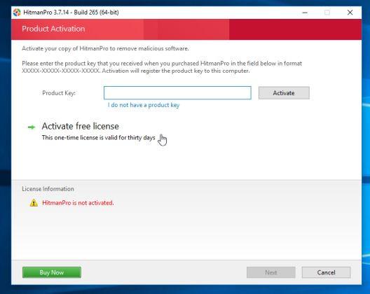 Click chọn nút Activate free license để dùng thử HitmanPro