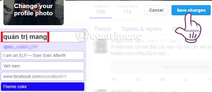 Đổi tên đăng nhập trên Twitter