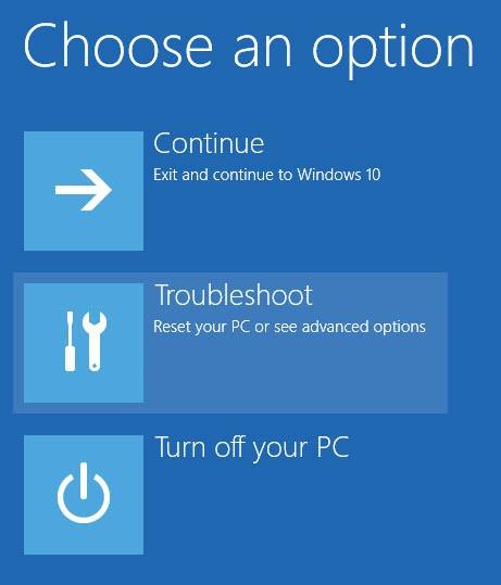 """Tại Menu Advanced Boot, bạn click chọn tùy chọn """"Troubleshooting""""."""
