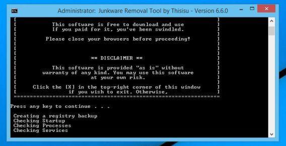 Tải công cụ Junkware Removal Tool về máy và chạy công cụ