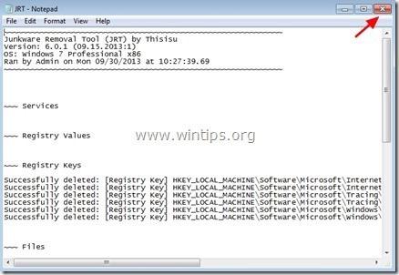 Đóng file log JRT lại rồi khởi động lại máy tính