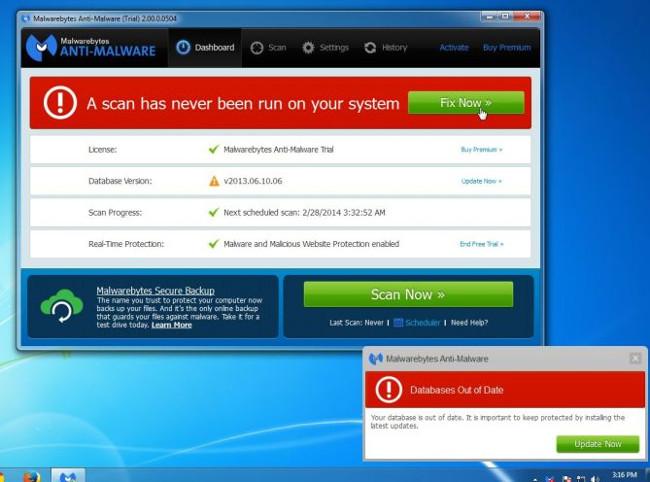 Sau khi cài đặt xong, Malwarebytes Anti-Malware sẽ tự động mở và update dữ liệu diệt virus