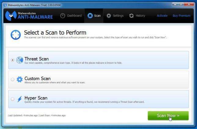 Hoặc cách khác là bạn có thể click chọn tab Scan rồi chọn Threat Scan, sau đó click chọn Scan Now