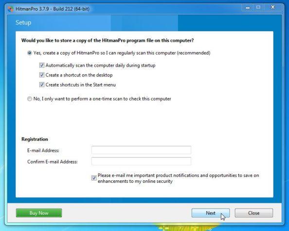 Click chọn Next để cài đặt HitmanPro trên máy tính