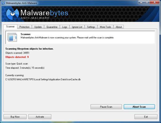 Malwarebytes Anti-Malware sẽ bắt đầu thực hiện quá trình quét PUP.Tuto4PC trên máy tính