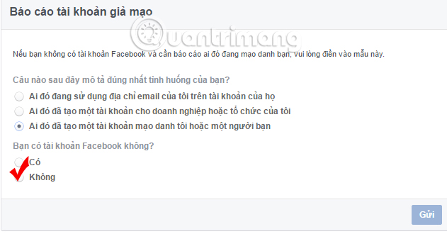 Report nick Facebook giả