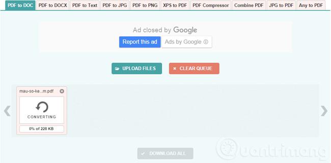 Chờ PDF to DOC chuyển đổi PDF sang Word