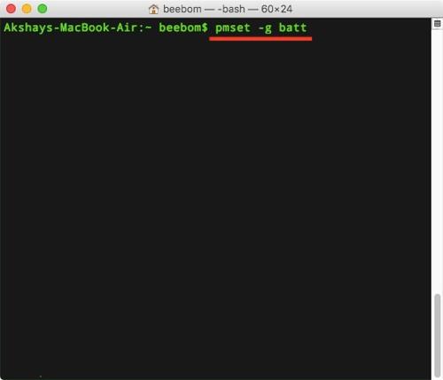 Kiểm tra pin máy Mac trên Terminal