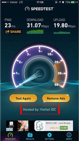 Kiểm tra tốc độ mạng 4G Viettel