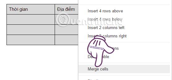 Chọn Merge cells gộp cộp Google Docs
