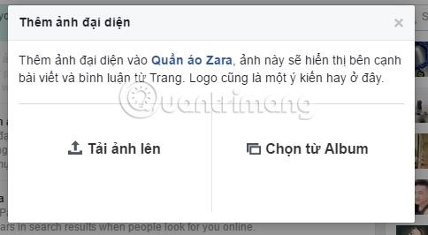 Chọn ảnh đại diện cho Fanpage Facebook