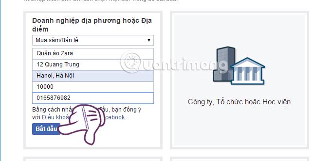 Thông tin cơ bản cho Fanpage Facebook