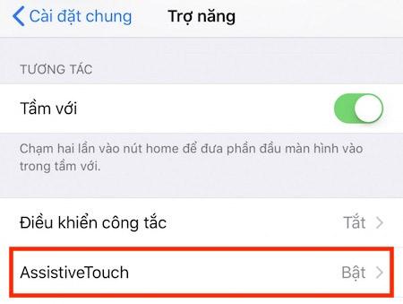 Vào Cài đặt > Cài đặt chung > Trợ năng > Assistive Touch.