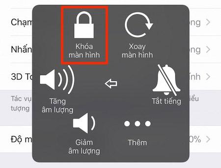 Nhấn vào phím Home ảo rồi chọn thiết bị và giữ biểu tượng Khóa màn hình.