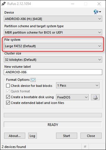 Tại menu File System, chọn FAT32