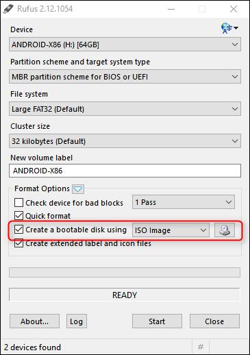 Đánh tích chọn Create a bootable disk using