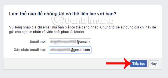 Nhập email mới truy cập Facebook